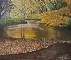 Oil painting, river Lossie in Elgin