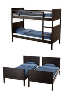The NORDDAL bed can be used as two separate twin beds, or as a bunk. The flexibility allows you to switch things around as the needs of your family change.