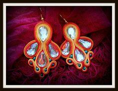 earrings original handmade soutache unique cabochons glass, stone