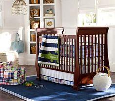 Alligator Madras Nursery Bedding | Pottery Barn Kids i like this plaid chair and lighting too