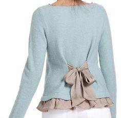 add tie & ruffle to sweater or jacket - feminine
