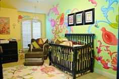 Emerson's Nursery- Birds in a Floral Paradise - Project Nursery - Missy Ostrom - Emerson's Nursery- Birds in a Floral Paradise - Project Nursery This gives me inspiration for my daughters room. Def tweak it a bit. Nursery Themes, Nursery Ideas, Nursery Design, Wall Design, Project Nursery, Painting For Kids, Girl Nursery, Baby Love, Decoration