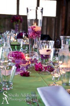 Flora Nova Design, Seattle best wedding flowers, Seattle event design, candle centerpiece, floating candles, wedding reception decor