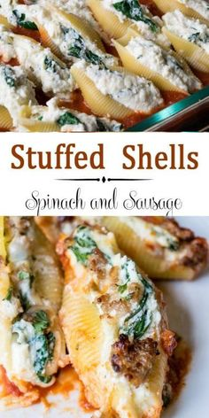 Sausage Ricotta and Spinach Stuffed Shells Easy Cheesy. This recipe combines ricotta mozzarella and paresean cheeses and spinach stuffed into the shells. A layer of Italian sausage completes the meal. Sausage Stuffed Shells, Spinach Stuffed Shells, Stuffed Shells Recipe, Healthy Stuffed Shells, Easy Stuffed Shells, Italian Stuffed Shells, Stuffed Lasagna Shells, Stuffed Pasta Recipes, Seafood Stuffed Shells