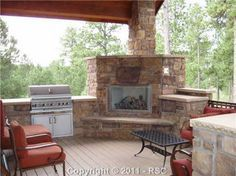 corner outdoor fireplace with gas grill - Google Search