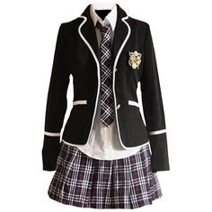 Partiss Girls' Japanese JK School Uniform Cosplay Costume (250 BRL) ❤ liked on Polyvore featuring uniform, dresses, outfit, school and school uniform