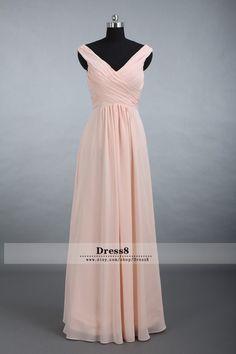 Custom Elegant Chiffon Bridesmaid Dress, Straps V-neck Floor Long Chiffon Bridesmaid Dress A-line Blush Bridesmaid Dresses on http://okbridal.storenvy.com/collections/977676-bridesmaid-dresses/products/11483163-navy-blue-bridesmaid-dresses-long-bridesmaid-dresses-chiffon-bridesmaid-dr
