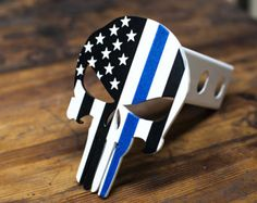 Punisher Trailer Hitch Cover  Thin Blue Line by KempterKustoms