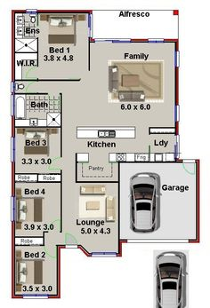 35 best 4-bedroom house plans images on Pinterest | 4 bedroom house ...
