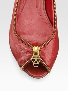 Zip-Detailed Ballet Flats from Alexander McQueen