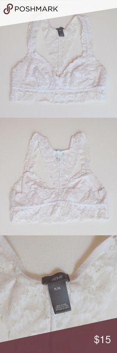 Aerie White Bralette White Lace Aerie (by American Eagle Outfitters) bralette. Never been worn, great condition! aerie Intimates & Sleepwear Bandeaus
