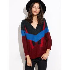 Multicolor V Neck Elastic Cuff Sweater ($36) ❤ liked on Polyvore featuring tops, sweaters, loose sweater, pullover sweaters, long sleeve sweater, patterned sweaters and v neck pullover