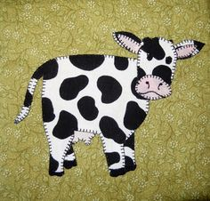 (7) Name: 'Quilting : Cow Applique Block