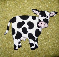 (7) Name: 'Quilting : Cow Applique Block