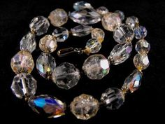 Fall Sale Fabulous OLD Crystal Necklace Rock Crystal by hipcricket, $45.00