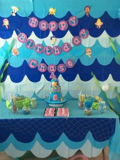 Fun backdrop at a Bubble Guppies birthday party! See more party ideas at CatchMyParty.com!