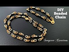 Beaded Jewelry Patterns, Beaded Jewellery, Beaded Necklaces, Necklace Tutorial, Necklace Set, Cuff Bracelets, Jewelry Making, Bows, Chain