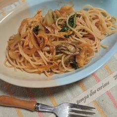 白菜と舞茸のトマトソースパスタ