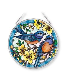 Shop American Expedition Stained Glass Wildlife Suncatchers - This beautiful circle Blue Bird Stained Glass Suncatcher is hand-painted with vibrant colors to brighten up any room! Stained Glass Designs, Stained Glass Patterns, Stained Glass Art, Clock Painting, Silk Painting, Tile Art, Mosaic Art, Pomegranate Art, Broken Glass Art