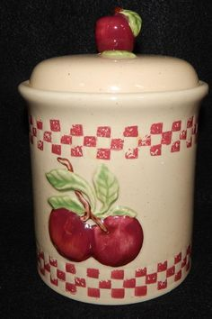 """Cracker Barrel APPLE Small Kitchen Canister and Lid Tight Seal Old Country Store Dinnerware Near Mint Condition 7"""" tall by libertyhallgirl on Etsy $18.74"""