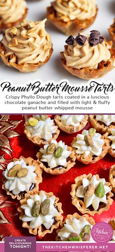 Crispy Phyllo Dough tarts coated in a luscious chocolate ganache and filled with light & fluffy peanut butter whipped mousse. Peanut Butter Mousse, Peanut Butter Filling, Creamy Peanut Butter, Chocolate Ganache Tart, Chocolate Shavings, Mini Chocolate Tarts, Chocolate Recipes, Tart Recipes, Appetizer Recipes
