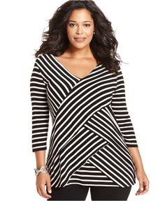 NY Collection Plus Size Three-Quarter-Sleeve Striped Tiered Top - Tops - Plus Sizes - Macy's