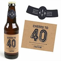 40th Milestone Birthday - Dashingly Aged to Perfection - 6 Beer Bottle Label Stickers and 1 Carrier | BigDotOfHappiness.com