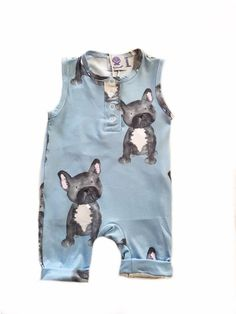 FREE SHIPPING OVER $60! Hand designed #kidswear , this lavender blue baby playsuit with hand-designed french bulldogs is so cute! Onesies for the funky baby or toddler! #onesie #romper #playsuit
