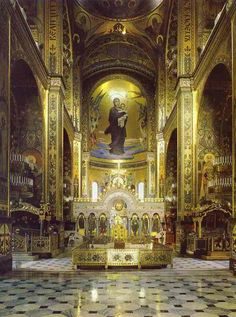 Altar of the Cathedral of St. Vladimir, Kiev, View of the apse. Catholic Altar, Roman Catholic, Catholic Churches, Religious Icons, Religious Art, Basilica San Pedro, Temples, Take Me To Church, Sainte Marie