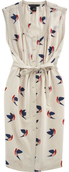 Bird Print Button-Up