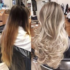 """For this color correction I applied Wella Blondor+20vol(6%)+Olaplex on the back of the head and Wella Blondor+40vol(12%)+Olaplex towards the top of the head. I applied a full head of heavy highlights with foils until reaching a pale blonde. To tone I used Pravana's express toner in pearl for 10 min. Followed with Olaplex No.2 for 10min. Shampooed and conditioned."" - @jackmartinsalon ❤️ #olaplex #blonde #hairlove #modernsalon"