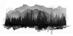 Would make an amazing tattoo. - Lina K - Layered forest mountain scene. Would make an amazing tattoo. Wolf Tattoos, Elephant Tattoos, Cross Tattoos, Symbols Tattoos, Octopus Tattoos, Lotus Flower Tattoo Wrist, Flower Tattoos, Forest Tattoos, Nature Tattoos