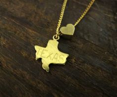 Texas Love  State Charm Necklace by BrooklynCharm on Etsy, $16.00