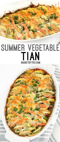 Fresh summer vegetables and savory herbs are layered together then topped with cheese before baking to perfection in this Summer Vegetable Tian. @budgetbytes