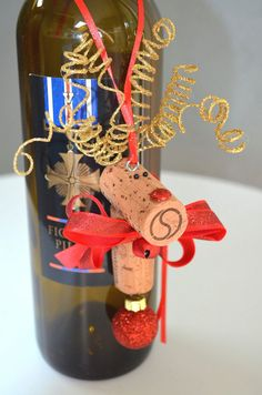Wine Bottle Ornaments by TheCorkForest on Etsy