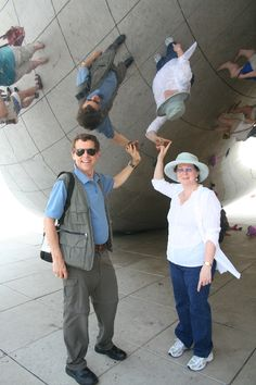 Chicago Millennium Park: the reflective Cloud Gate sculpture. Step up close and meet your twin!