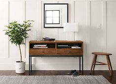Inspired by the Arts and Crafts tradition, the Linear console table collection is built in a woodworking shop in northern Wisconsin. Its refined, yet durable design features details like dovetail joinery and handcrafted hardware.