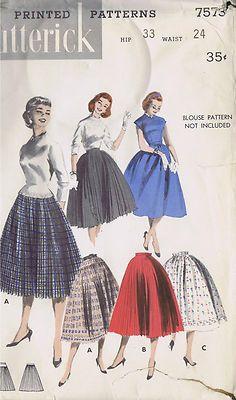 "Vintage Skirt Sewing Pattern 6003 Butterick 50s Size 12 Waist 24"" Hip 33"" Uncut | eBay"