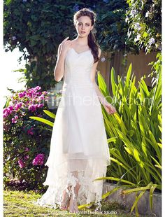 A-line V-neck Asymmetrical Organza Wedding Dress - USD $178.19