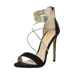 FSJ Women Sexy Cocktail Party Stiletto Heels Open Toe Strappy Sandals Metallic D Ring Shoes Size