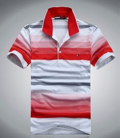 2013 New Mens Tommy Hilfiger Fashion Red Polo Shirt - Designer Outlet UK
