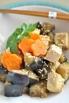Eggplant and tofu salad with miso dressing