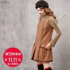 【双11秒杀11.11元】阿卡塔克褶绣花羊毛呢花边连衣裙LA15653Q Color Block Sweater, Sweaters, Dresses, Fashion, Vestidos, Moda, Fashion Styles, Sweater, Dress