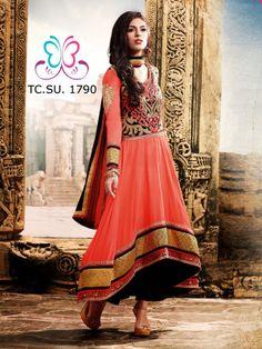 #Designer #umbrella cut #Black and #Tomato #red designer #Shalwar #Kameez
