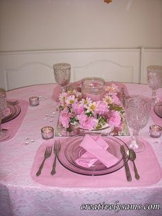 I dedicate this tablescape to my cousin Tara, who lost her battle to cancer and to my cousin Patty, who beat it, and to all women, everywhere. I thought I'd do this tablescape today because October is Breast Cancer Awareness… Cancer Free Party, Breast Cancer Party, Breast Cancer Crafts, Breast Cancer Fundraiser, Cancer Survivor Party, Breast Cancer Survivor, Breast Cancer Awareness, Beat Cancer, Awareness Ribbons