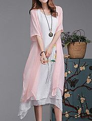 Plus+Size+Casual/Daily+Simple+Loose+Dress,Floral+Round+Neck+Midi+Short+Sleeve+Cotton+Linen+Pink+Gray+Green+Summer+Mid+Rise+Inelastic+–+CAD+$+33.55