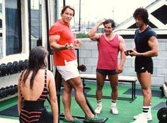 Arnold, Franco Columbo, and Sylvester Stallone in one one frame!