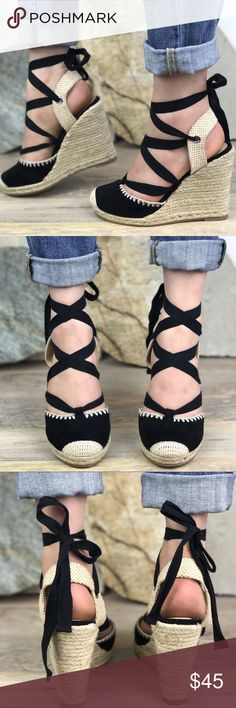 Tie Around Platform Espadrilles Wedges Brand New  Runs: True to Size  Color: black  Wedge Height : 4.5 inches and 0.5 platform  Photography is of actual item NO LOW BALL OFFERS.   THIS IS BRAND NEW ITEM FROM A BOUTIQUE. Everything we sell quality is amazing!  ✨this item won't be restocked ✨ 💫I ship same day. Sunday orders are shipped next day!  Please ask if size is available since we sell out of sizes fast. Shoes Espadrilles