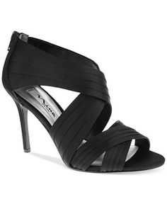 Melizza by Nina Sexy Pleated Shoes. Nina Melizza Pleated Cross Strap  Sandals satin black, pewter ...