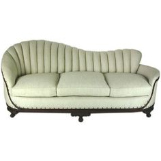 Art Deco Linen Sofa with Carved Wood Base